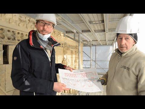 Eglise : Olivier Guerin, 1er Adjoint au Maire, nous explique les travaux depuis les échafaudages